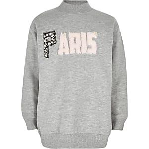 Sweat «Paris» gris pour fille
