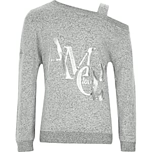 Grey 'Amour' one shoulder sweatshirt