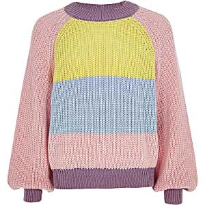 Roze nonchalante pullover met kleurvlakken voor meisjes