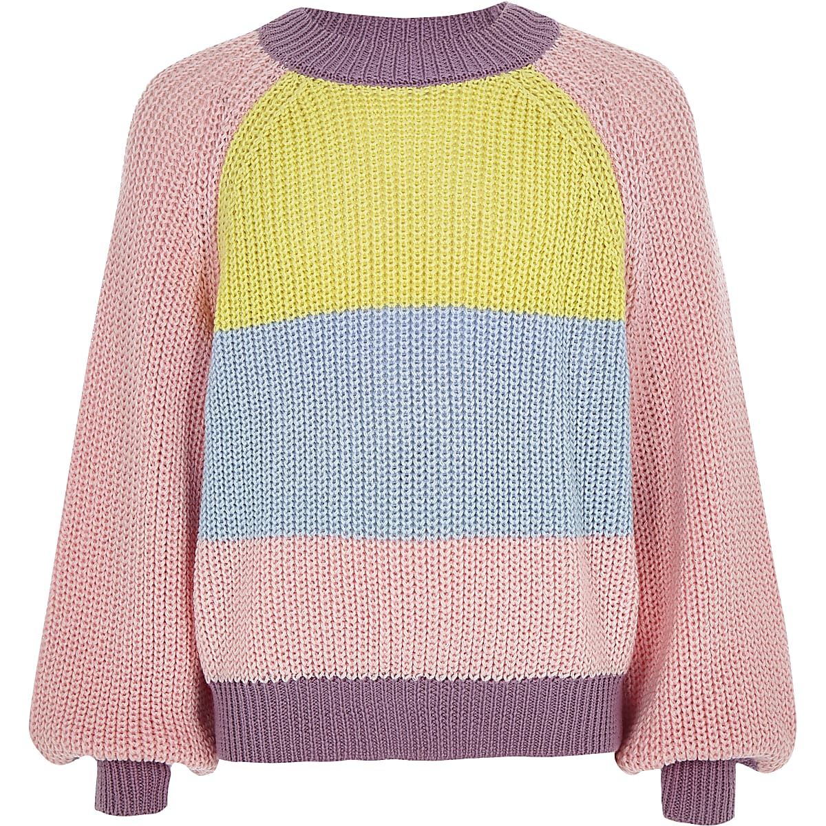 Girls pink color block slouch sweater