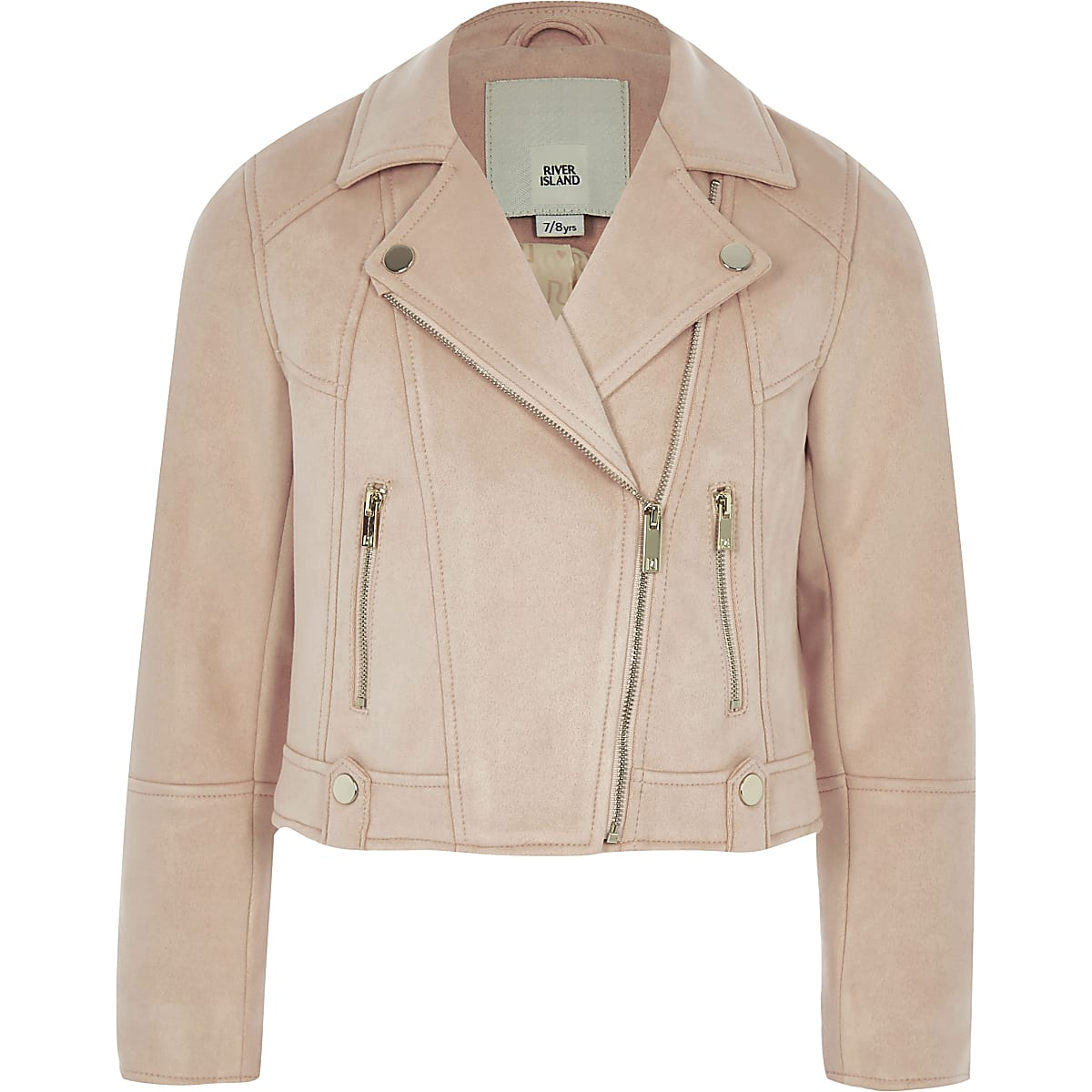 Girls pink faux suede biker jacket