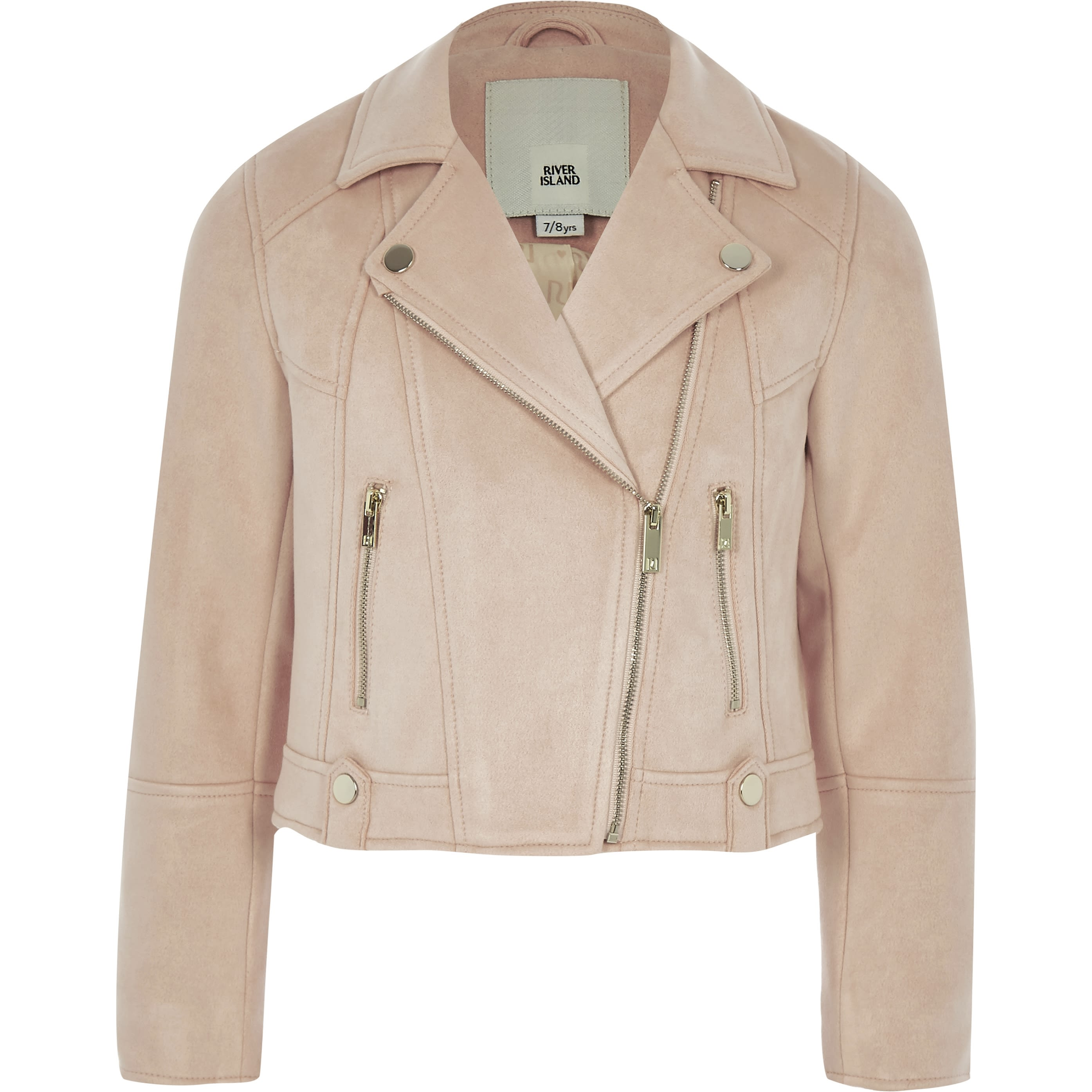 RIVER ISLAND   Girls Pink Faux Suede Biker Jacket   Goxip