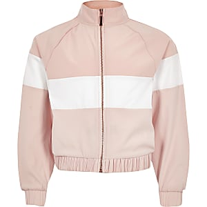 Girls RI Active pink block track jacket