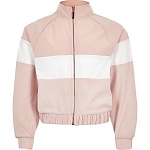 RI Active - Roze trainingsjack met kleurvlakken voor meisjes