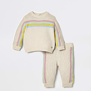 Ensemble avec pull en maille à rayures arc-en-ciel crème bébé