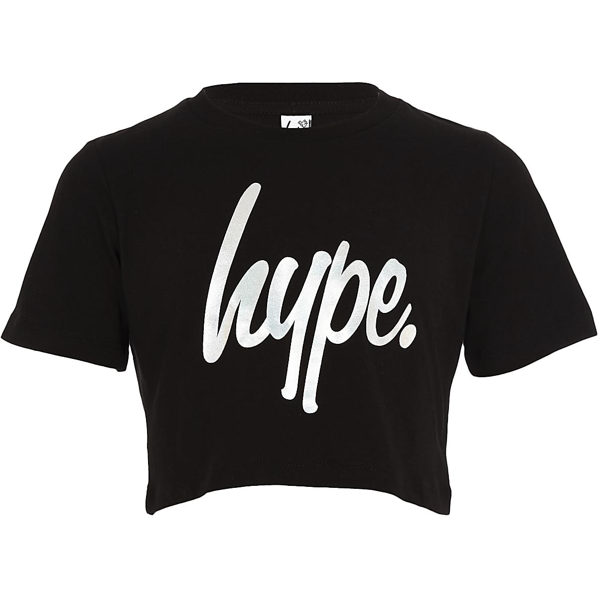 Hype – Crop top noir effet hologramme pour fille