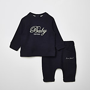 Baby navy 'Couture' sweatshirt outfit