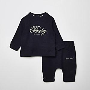 Outfit met marineblauw sweatshirt met 'Queen Couture'-print voor baby's