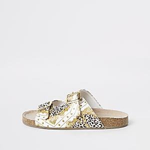 Girls brown baroque buckle sandals