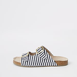 Marineblauwe gestreepte sandalen met gesp voor meisjes