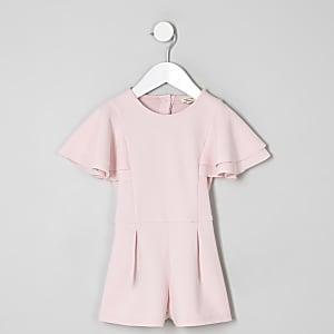 Mini - Roze playsuit met ruches aan de mouwen voor meisjes