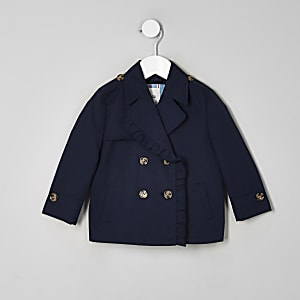 Mini girls navy crop trench coat