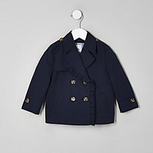 Mini - Marineblauwe cropped trenchcoat voor meisjes