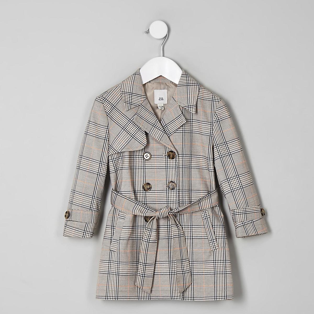 Mini girls beige check trench coat