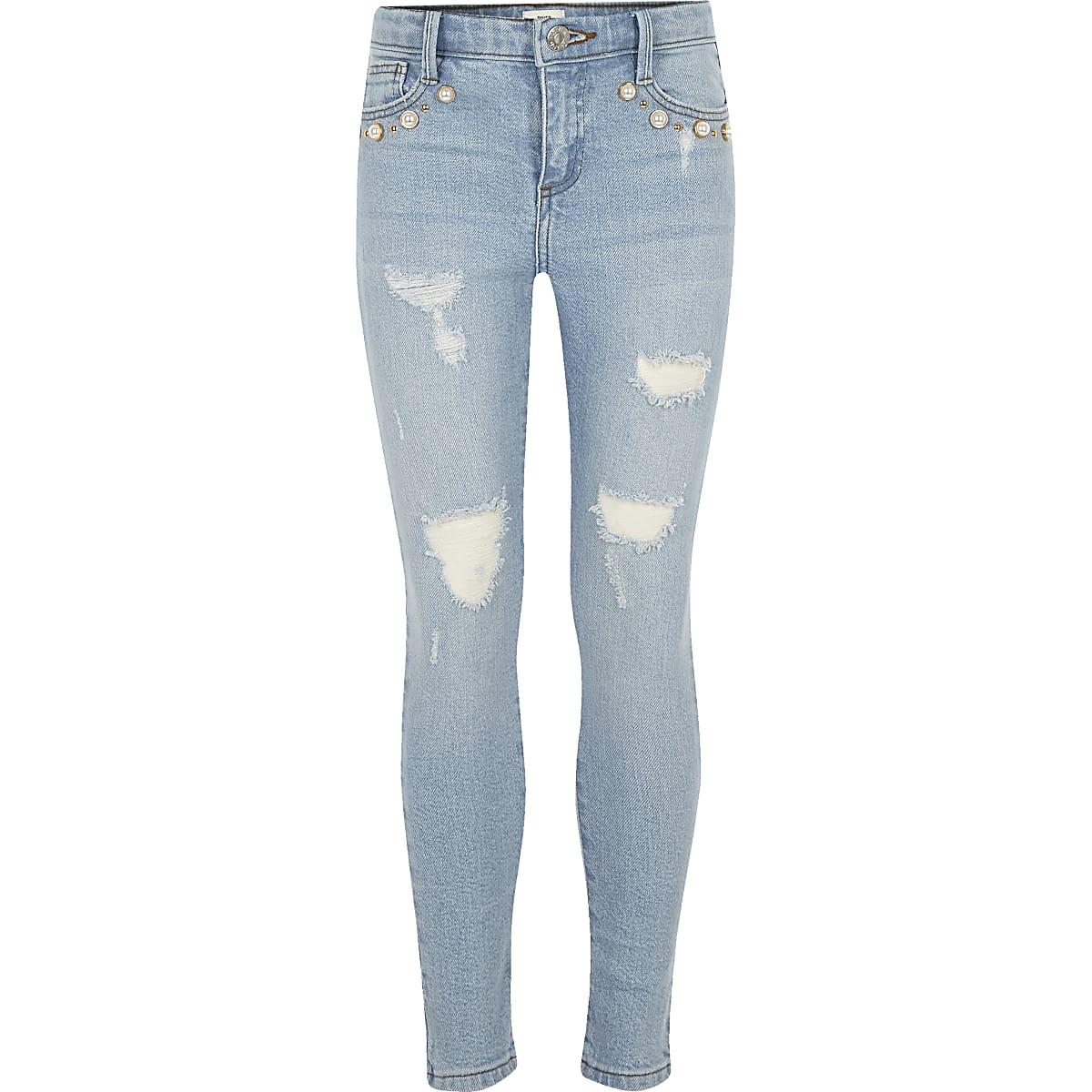 Amelie- Jeans met pareltjes en lichtblauwe wash voor meisjes