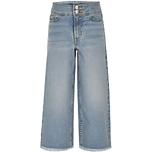 Girls blue wide leg cropped Alexa jeans