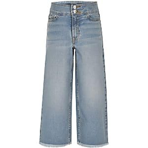 Blauwe jeans met wijde pijpen voor meisjes