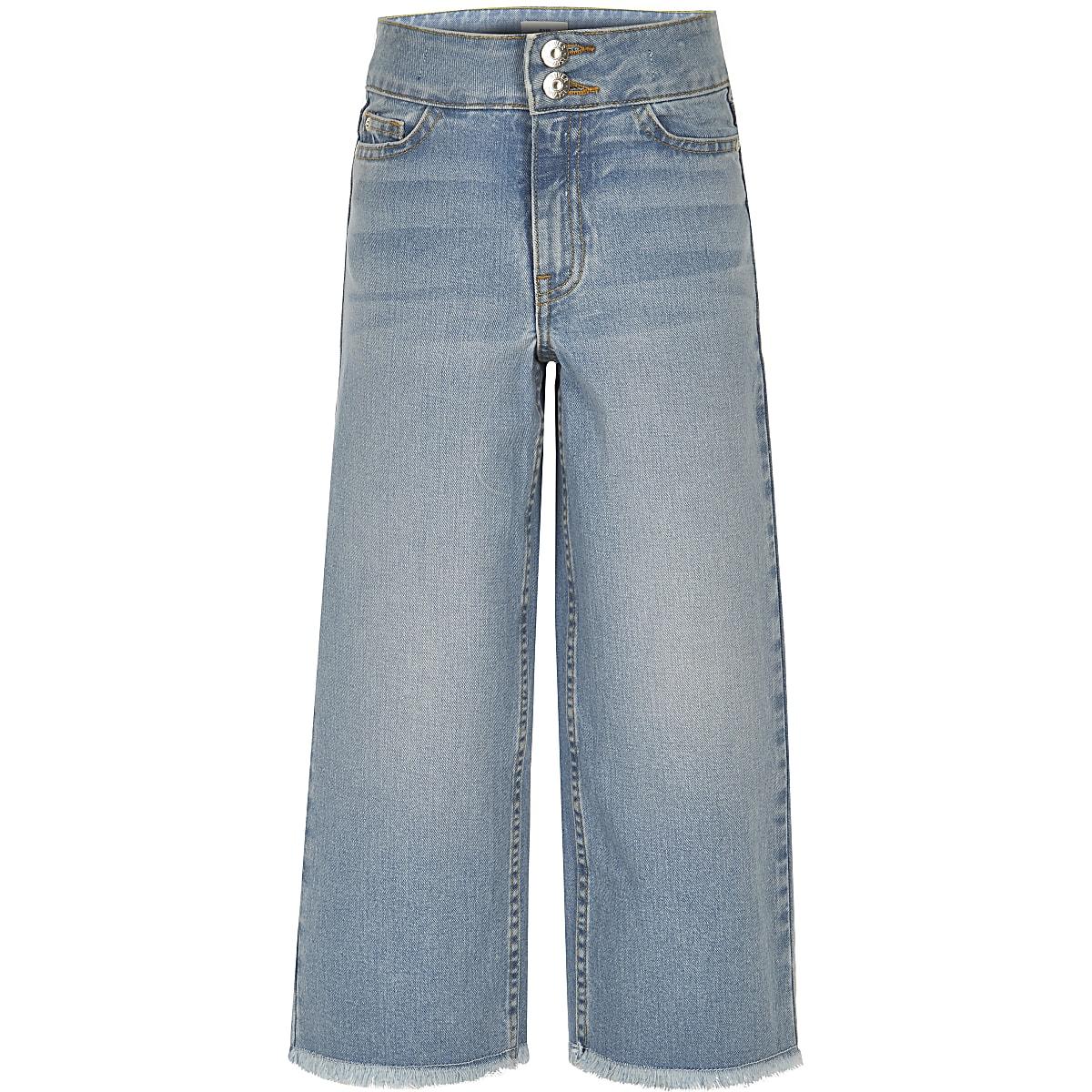 Girls blue wide leg cropped Alexa jeans
