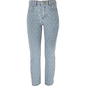 Blauwe jeans met perforaties en rechte pijpen voor meisjes