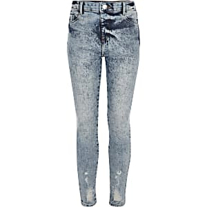Girls blue Molly acid wash high rise jegging