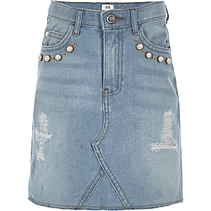 Girls light blue pearl A line denim skirt