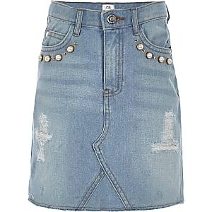 Jupe trapèze en jean bleu clair à perles pour fille