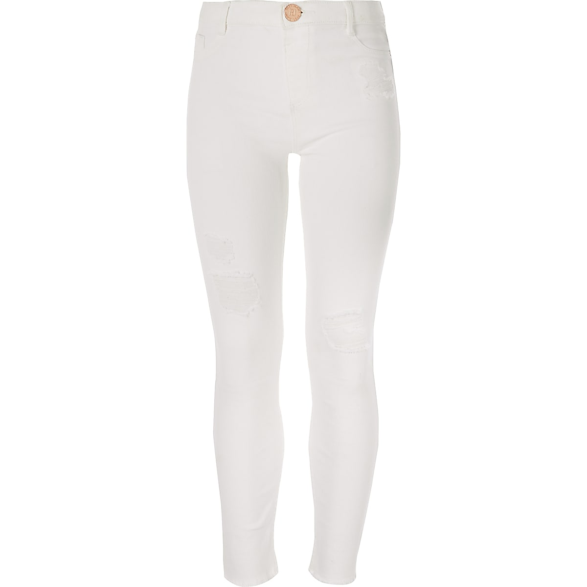 Girls white Molly ripped mid rise jegging