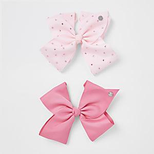 Girls pink diamante JoJo bow