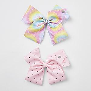 Jojo - Set met roze en regenboog-strik voor meisjes