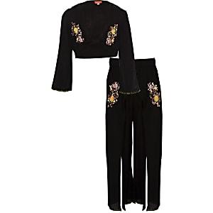 Zwarte strandoutfit met crop top en pailletten voor meisjes