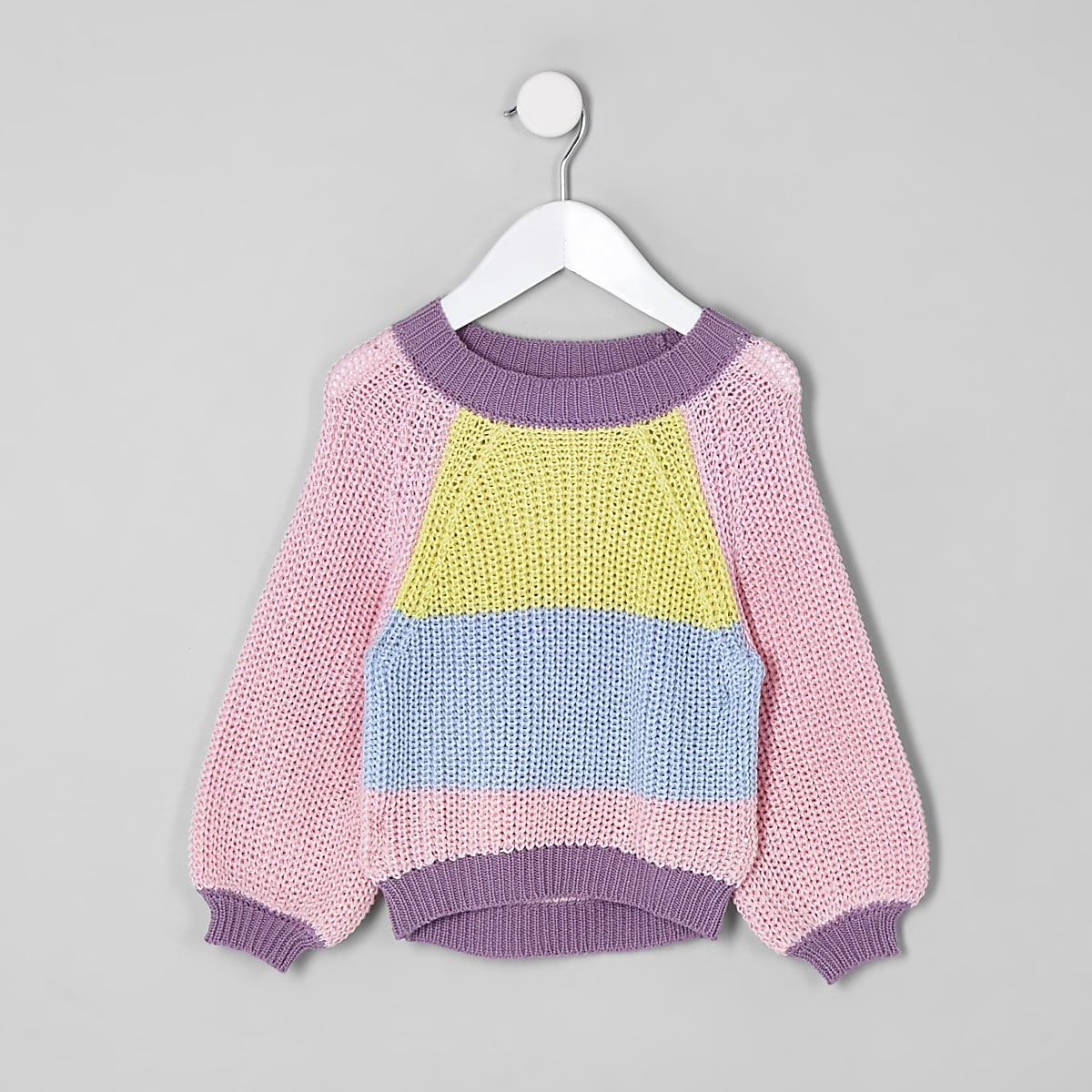 Mini girls pink colour block slouch jumper