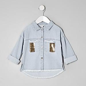 Mini girls denim sequin pocket shacket