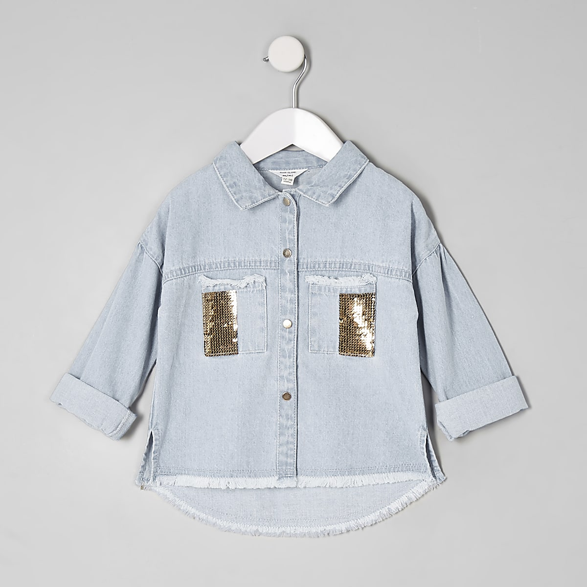 Mini girls denim sequin pocket shacket