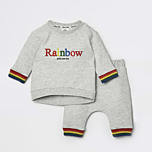 Baby grey rainbow jogger outfit