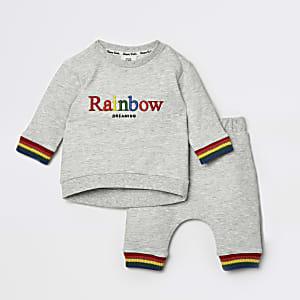 Ensemble « Rainbow » avec pantalon de jogging gris pour bébé