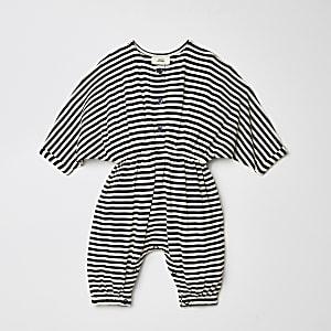 Baby blue stripe slouch romper