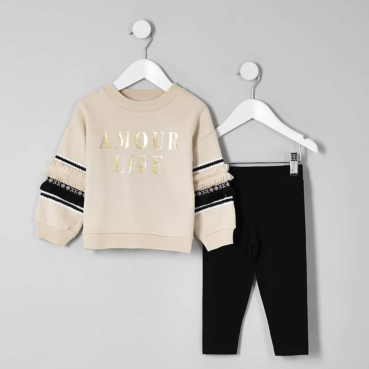 Mini girls beige 'Amour' sweatshirt outfit