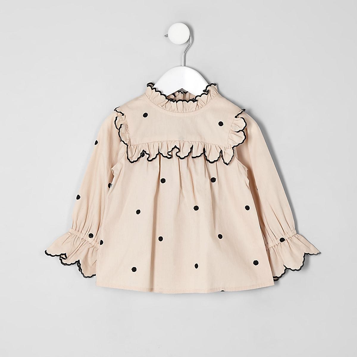 Mini girls cream poplin polka dot swing top