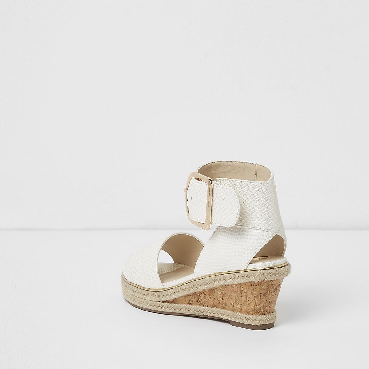 4f52b1faede8 Girls white snake embossed espadrille wedges - Sandals - Footwear ...