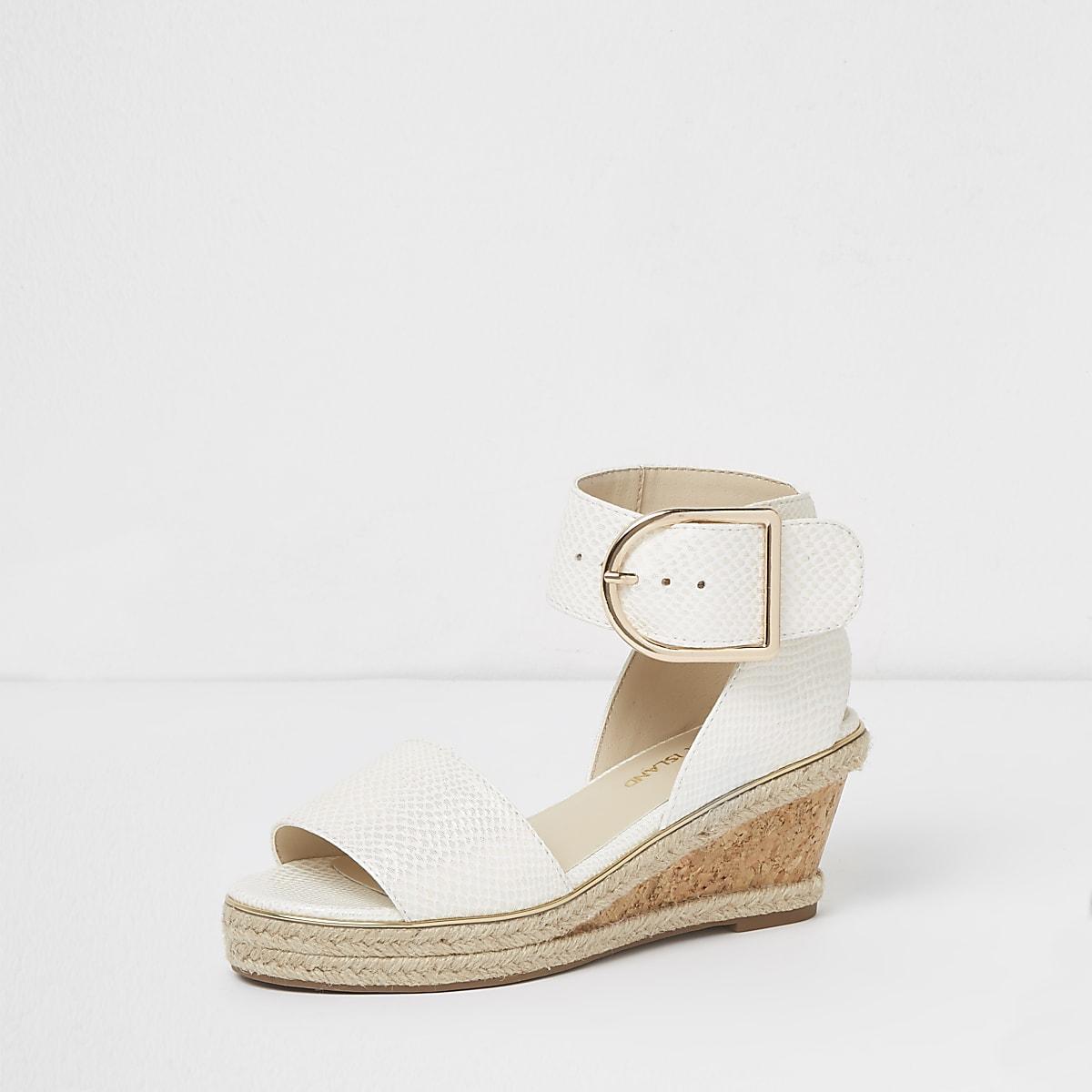 e5339726d0fb Girls white snake embossed espadrille wedges - Sandals - Footwear ...