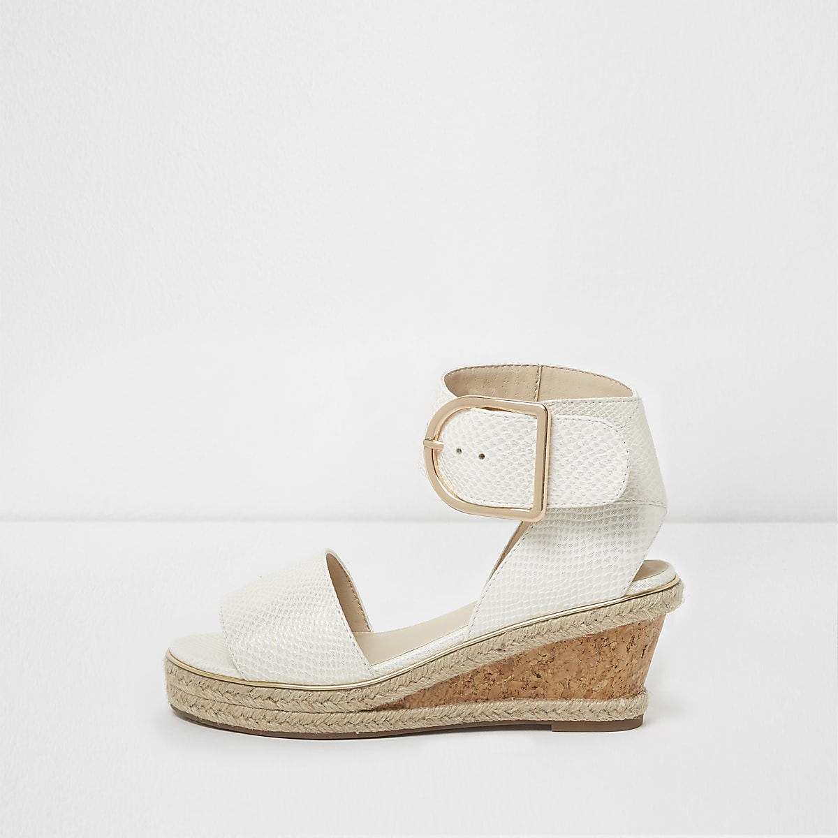 570903fcbc0 Girls white snake embossed espadrille wedges - Sandals - Footwear - girls
