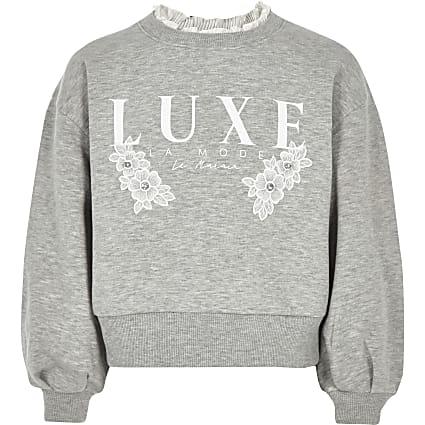 Girls grey 'Luxe' embellished sweatshirt