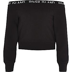 RI Active - Zwart sweatshirt in bardotstijl voor meisjes
