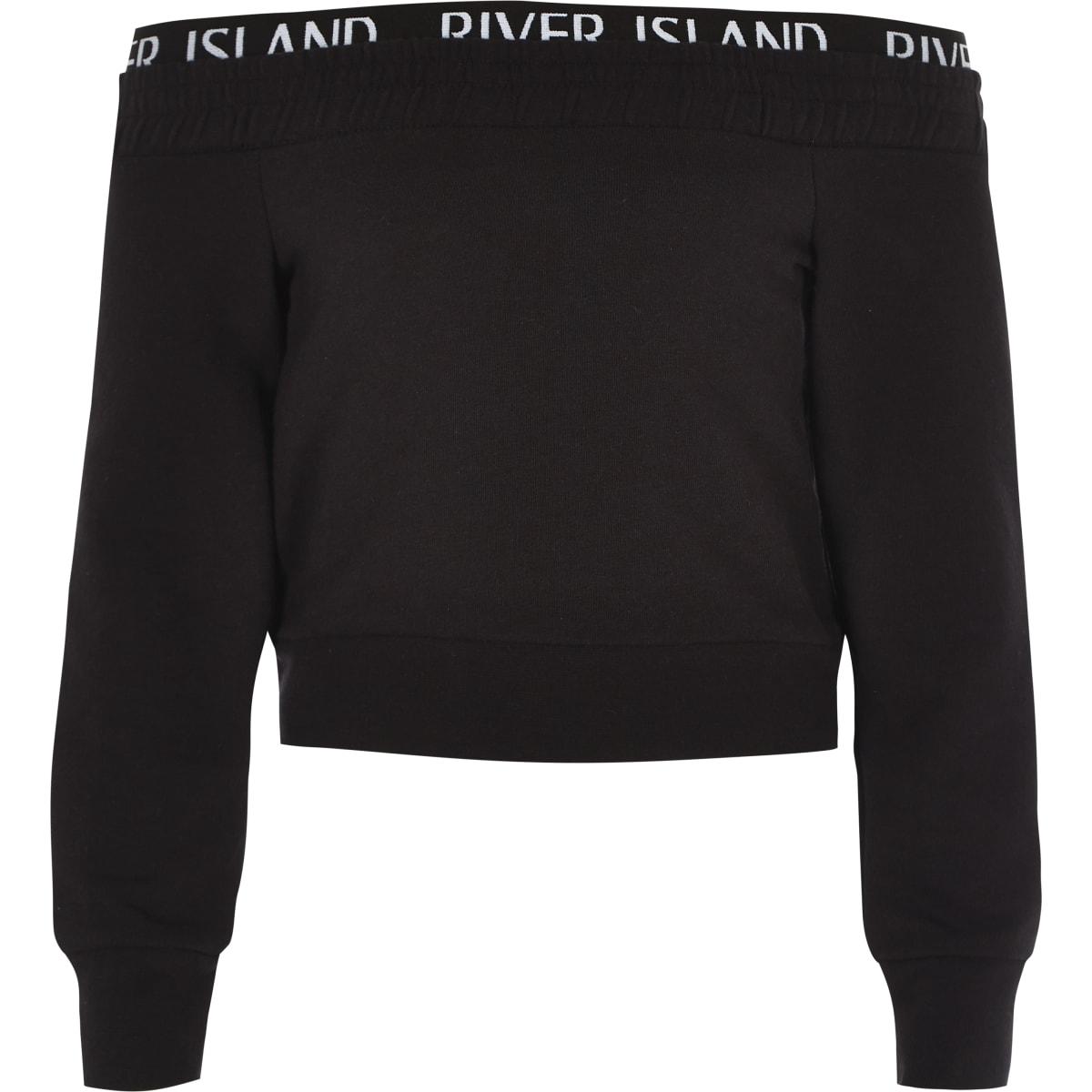 Girls RI Active black bardot sweatshirt
