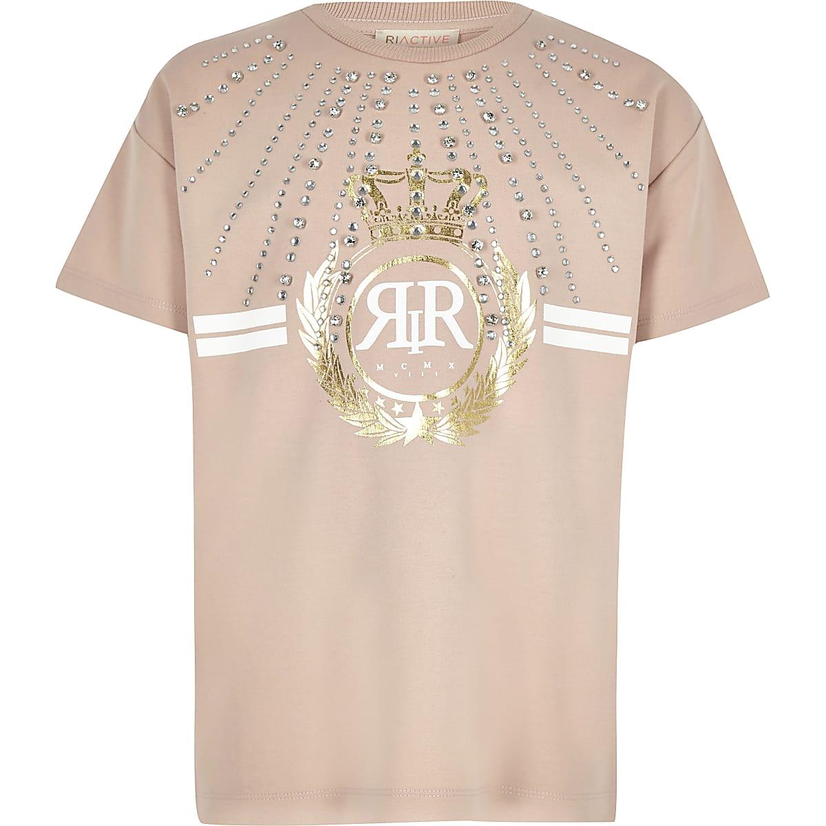 Girls RI Active pink embellished T-shirt