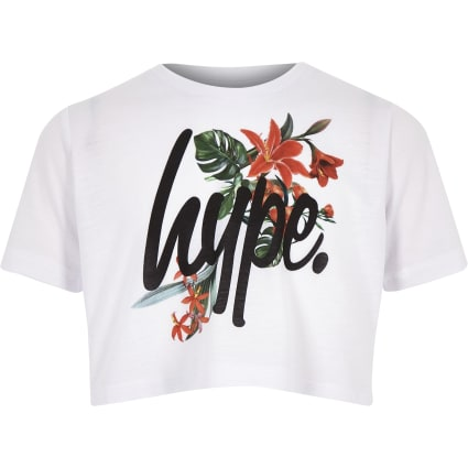 Girl Hype white floral crop T-shirt
