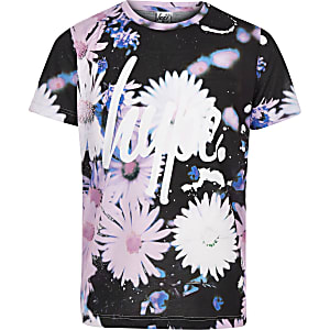 Girls Hype black daisy print T-shirt