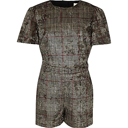 Girls brown check velvet playsuit