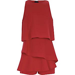Combi-short rouge à volants façon jupe-short pour fille