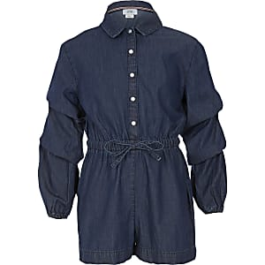 Girls blue denim long sleeve playsuit